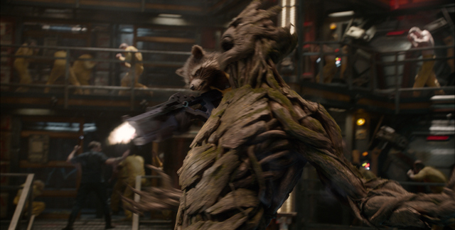 Marvel Rocket Racoon (voiced by Bradley Cooper) and Groot (voiced by Vin Diesel)