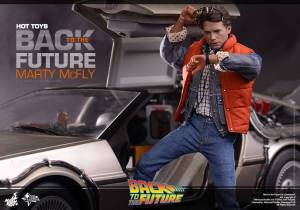 Hot Toys Back to the Future Marty McFly stepping out the Delorean
