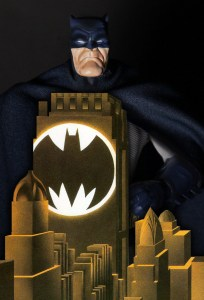 Mezco Dark Knight Returns Batman blue figure cover homage