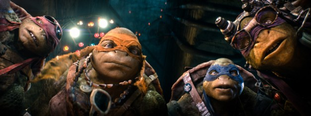 "Industrial Light & Magic / Paramount  Raphael, Michelangelo, Leonardo, and Donatello in ""Teenage Mutant Ninja Turtles."""