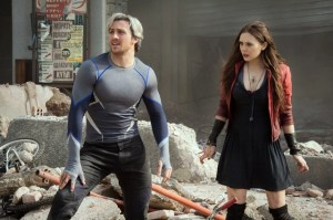Jay Maidment/Marvel Quicksilver/Pietro Maximoff (Aaron Taylor-Johnson) and Scarlet Witch/Wanda Maximoff (Elizabeth Olsen)
