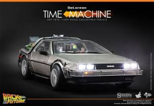 Hot Toys Back to the Future DeLorean front with lights on2
