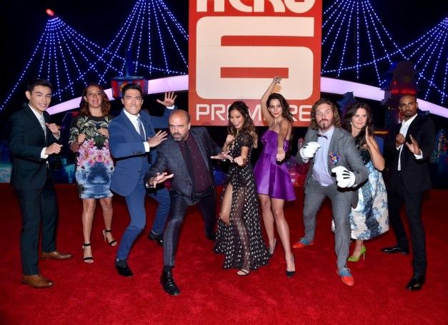 Alberto E. Rodriguez/Getty Images Actors Ryan Potter, Maya Rudolph, Daniel Henney, Daniel Adsit, Jamie Chung, Genesis Rodriguez, T.J. Miller, Katie Lowes and Damon Wayans Jr. attend the Los Angeles premiere.