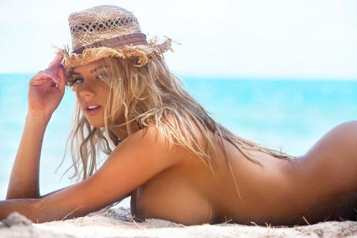 Charlotte McKinney on beach