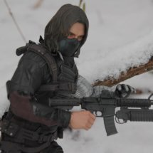 Hot Toys The Winter Soldier - walking in the snow with grenade launcher close up
