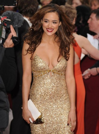 Nathalie+Emmanuel gold dress