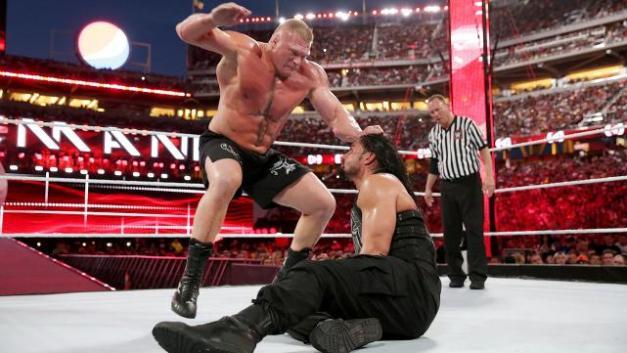Wrestlemania 31 -Brock beats down Reigns