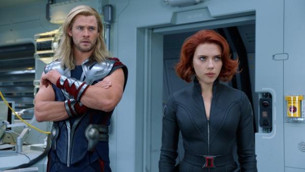 Chris Hemsworth and Scarlett Johansson in Avengers (2012)