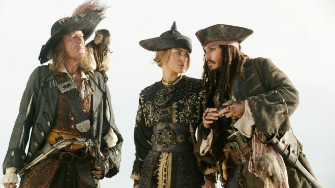 Pirates of the Caribbean- At World's End - Geoffrey Rush, Kiera Knightely and Johnny Depp
