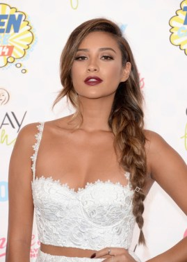 Shay Mitchell - white frizzy top
