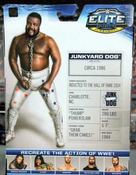 Junkyard Dog figure Mattel WWE Elite 33 - rear package card back