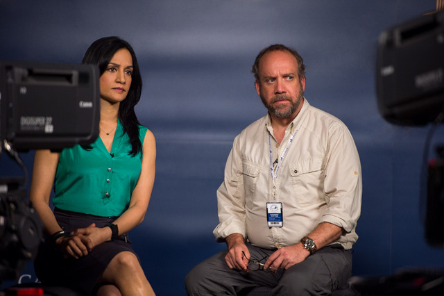 San Andreas - Archie Panjabi and Paul Giamatti