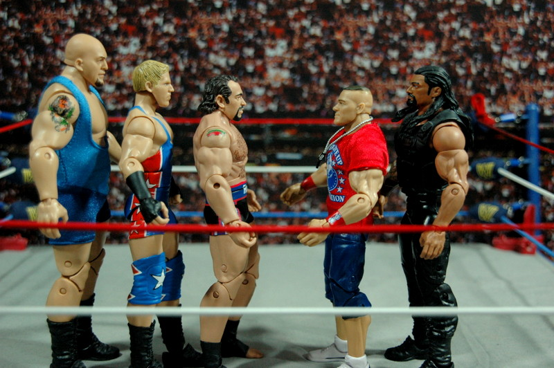 WWE Elite 34 Rusev review pics - scale shot with Big Show, Swagger, Cena and Reigns