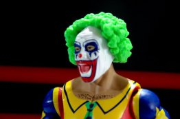 Doink the Clown WWE Mattel figure review - face closeup
