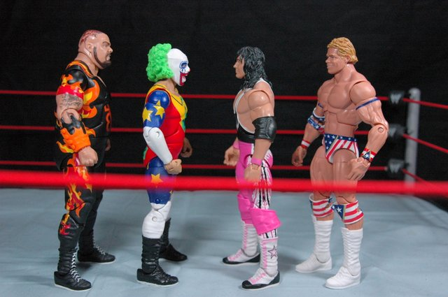 Doink the Clown WWE Mattel figure review - scale shot with Bam Bam, Bret Hart and Lex Luger