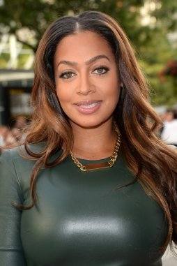 La La Anthony -plastic green dress