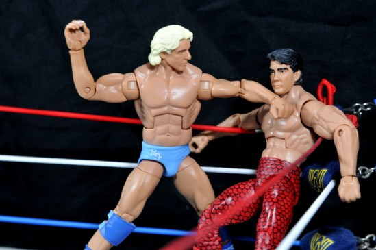 Ric Flair Defining Moments figure review - chopping Steamboat in corner