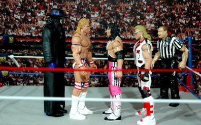 Lex Luger WWE Mattel Elite 30 figure -scale shot with Undertaker, Bret Hart and HBK