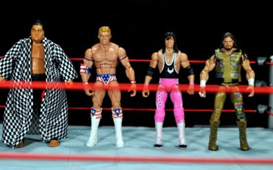 Lex Luger WWE Mattel Elite 30 figure -scale shot with Yokozuna, Bret Hart and Macho Man