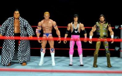 Lex Luger WWE Mattel Elite 30 figure -scale shot with Yokozuna, Bret Hart and Macho Man