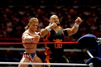 Lex Luger WWE Mattel Elite 30 figure - tossing Bam Bam into turnbuckle