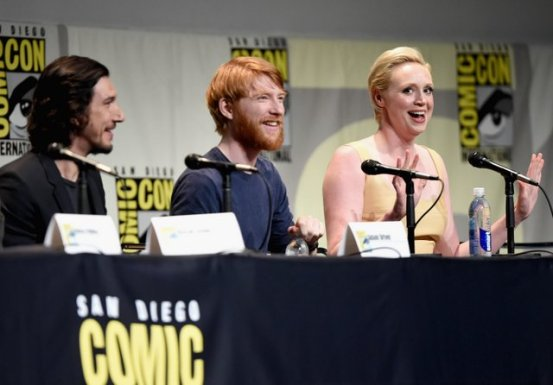 SAN DIEGO, CA - JULY 10: (L-R) Actors Adam Driver, Domhnall Gleeson and Gwendoline Christie at the Hall H Panel for `Star Wars: The Force Awakens` during Comic-Con International 2015 at the San Diego Convention Center on July 10, 2015 in San Diego, California. (Photo by Michael Buckner/Getty Images for Disney) *** Local Caption *** Adam Driver; Domhnall Gleeson; Gwendoline Christie