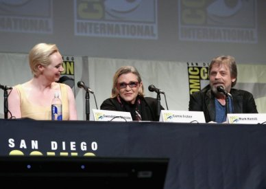 SAN DIEGO, CA - JULY 10: (L-R) Actors Gwendoline Christie, Carrie Fisher and Mark Hamill at the Hall H Panel for `Star Wars: The Force Awakens` during Comic-Con International 2015 at the San Diego Convention Center on July 10, 2015 in San Diego, California. (Photo by Jesse Grant/Getty Images for Disney) *** Local Caption *** Gwendoline Christie; Carrie Fisher; Mark Hamill