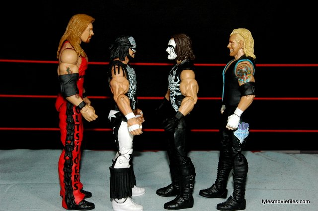 Sting figure WWE Mattel Defining Moments - scale shot with Nash, Savage and DDP