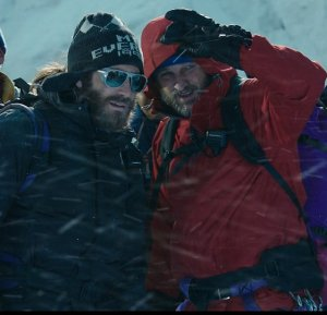 "(L to R) Scott Fischer (JAKE GYLLENHAAL) and Rob Hall (JASON CLARKE) in ""Everest"". Inspired by the incredible events surrounding an attempt to reach the summit of the world's highest mountain, ""Everest"" documents the awe-inspiring journey of two different expeditions challenged beyond their limits by one of the fiercest snowstorms ever encountered by mankind."