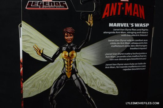 Wasp Marvel Legends figure review -rear package