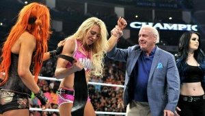 WWE Night of Champions - Charlotte celebrates win with Ric Flair