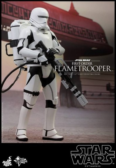 Hot Toys Star Wars Force Awakens First Order Flametrooper -standing at attention
