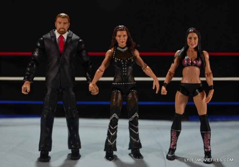 Mattel WWE Elite 37 Stephanie McMahon -scale shot with Triple H and Brie Bella