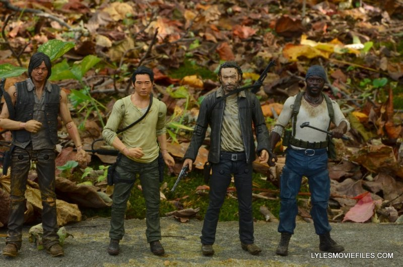 McFarlane Toys Walking Dead Rick Grimes Series 8 -scale shot with Daryl, Glenn and Tyrese