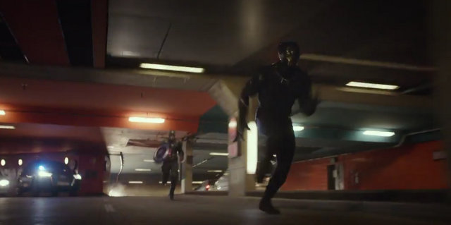 """Captain America Civil War"" - Captain America chases Black Panther"