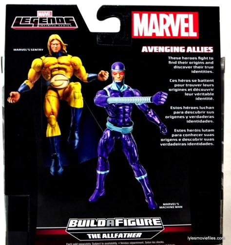 Machine Man Marvel Legends figure review - package back