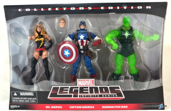 Marvel Legends three-pack Ms. Marvel, Captain America and Radioactive Man - front package