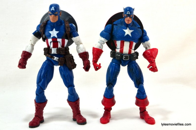 Marvel Legends three-pack Ms. Marvel, Captain America and Radioactive Man -Hasbro Cap vs Toy Biz Cap