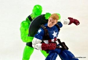Marvel Legends three-pack Ms. Marvel, Captain America and Radioactive Man -Radioactive Man pulling shield