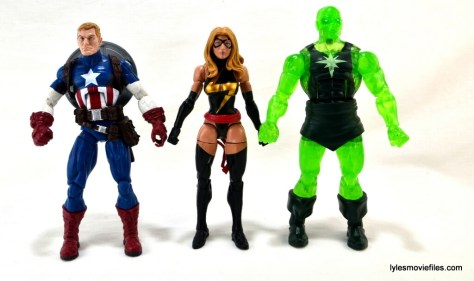 Marvel Legends three-pack Ms. Marvel, Captain America and Radioactive Man -scale trio