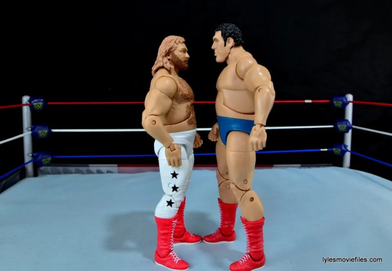 Mattel WWE Heenan Family set action figures review -Big John Studd face off with Andre the Giant
