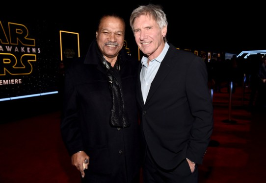 "HOLLYWOOD, CA - DECEMBER 14: Actors Billy Dee Williams (L) and Harrison Ford attend the World Premiere of ""Star Wars: The Force Awakens"" at the Dolby, El Capitan, and TCL Theatres on December 14, 2015 in Hollywood, California. (Photo by Alberto E. Rodriguez/Getty Images for Disney) *** Local Caption *** Billy Dee Williams;Harrison Ford"