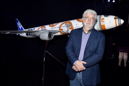"HOLLYWOOD, CA - DECEMBER 14: Director George Lucas attends the World Premiere of ""Star Wars: The Force Awakens"" at the Dolby, El Capitan, and TCL Theatres on December 14, 2015 in Hollywood, California. (Photo by Mike Windle/Getty Images for Disney) *** Local Caption *** George Lucas"