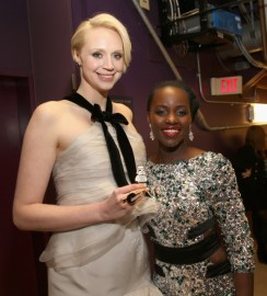 "HOLLYWOOD, CA - DECEMBER 14: Actresses Gwendoline Christie (L) and Lupita Nyong'o attend the World Premiere of ""Star Wars: The Force Awakens"" at the Dolby, El Capitan, and TCL Theatres on December 14, 2015 in Hollywood, California. (Photo by Jesse Grant/Getty Images for Disney) *** Local Caption *** Gwendoline Christie;Lupita Nyong'o"