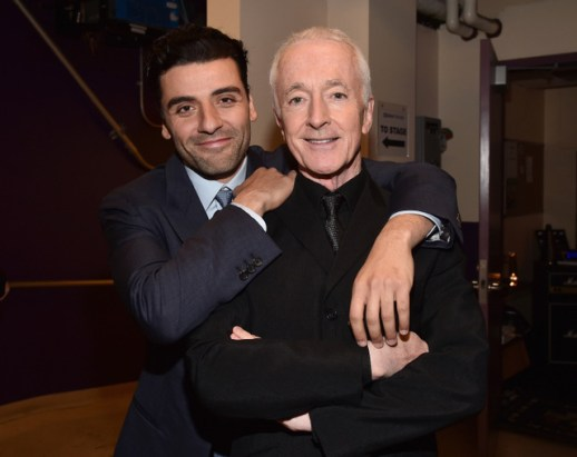 "HOLLYWOOD, CA - DECEMBER 14: Actors Oscar Isaac (L) and Anthony Daniels attend the World Premiere of ""Star Wars: The Force Awakens"" at the Dolby, El Capitan, and TCL Theatres on December 14, 2015 in Hollywood, California. (Photo by Alberto E. Rodriguez/Getty Images for Disney) *** Local Caption *** Oscar Isaac;Anthony Daniels"