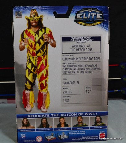 WWE Elite 38 Macho Man Randy Savage review -rear package
