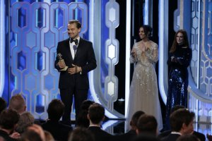 """73rd ANNUAL GOLDEN GLOBE AWARDS -- Pictured: (l-r) Leonardo DiCaprio, """"The Revenant"""", Winner, Best Actor - Motion Picture, Drama at the 73rd Annual Golden Globe Awards held at the Beverly Hilton Hotel on January 10, 2016 -- (Photo by: Paul Drinkwater/NBC)"""