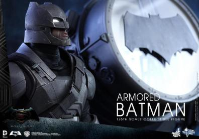 Hot Toys Batman v Superman Armored Batman -close up with Batsignal