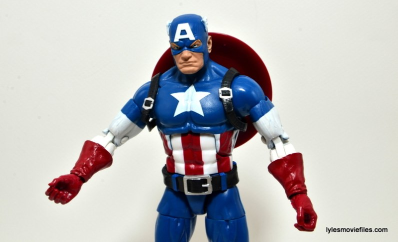 Marvel Legends Captain America review - shoulder straps on