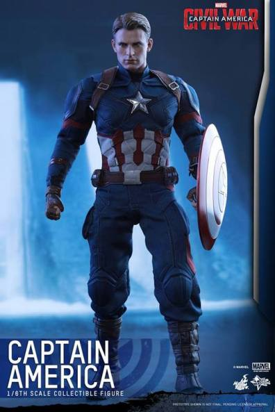 Hot Toys Captain America Civil War Captain America figure - helmet off with shield